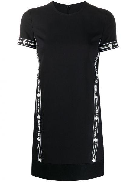 Шерстяное черное платье мини с вышивкой Dsquared2