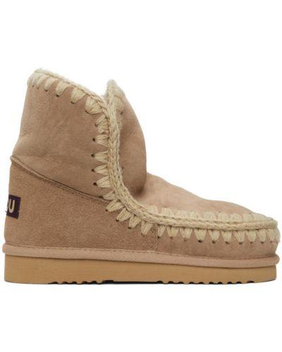 Белые замшевые ботинки на каблуке Mou