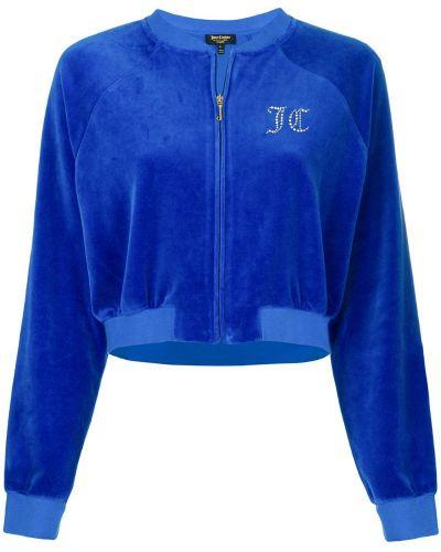 Велюровая синяя короткая куртка Juicy Couture