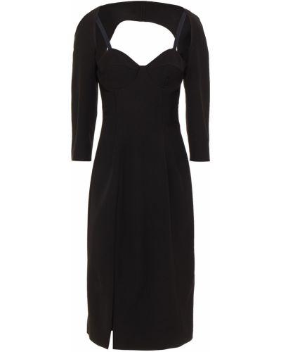 С ремешком черное платье миди из крепа Sara Battaglia