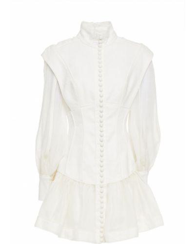 Льняное платье мини - белое Zimmermann