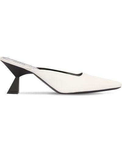 Biały muły na pięcie z prawdziwej skóry plac Givenchy