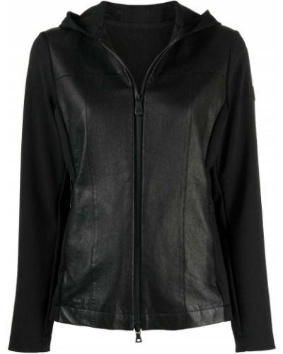 Черная кожаная куртка с капюшоном Peuterey