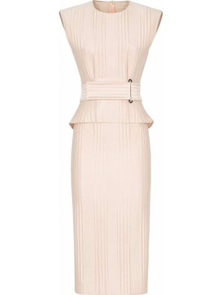 Облегающее розовое шелковое платье миди Fendi