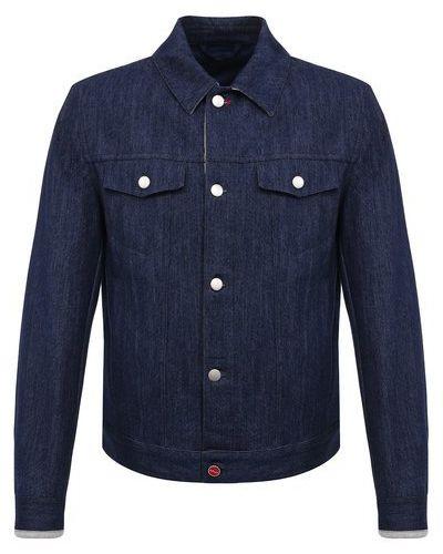 Хлопковая синяя джинсовая куртка с подкладкой Kiton
