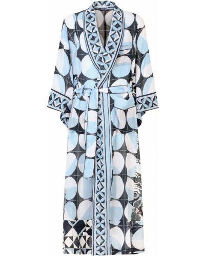 Biały szlafrok kimona materiałowy z printem Dolce And Gabbana
