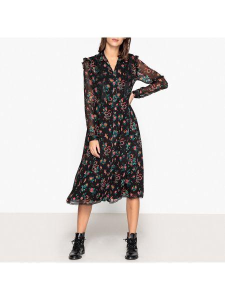 Классическое платье миди на пуговицах с воротником с рисунком Berenice