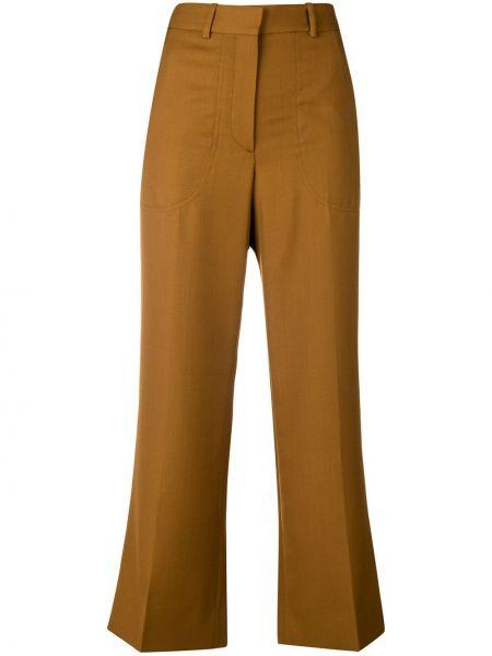 Брючные шерстяные коричневые расклешенные укороченные брюки Victoria Beckham