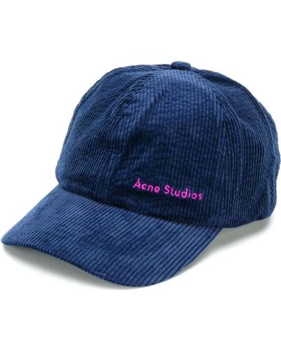 Niebieska czapka z haftem bawełniana Acne Studios