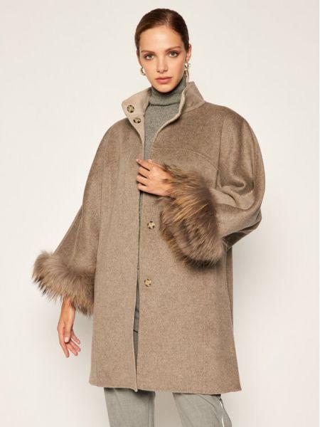 Szary płaszcz wełniany Luisa Spagnoli