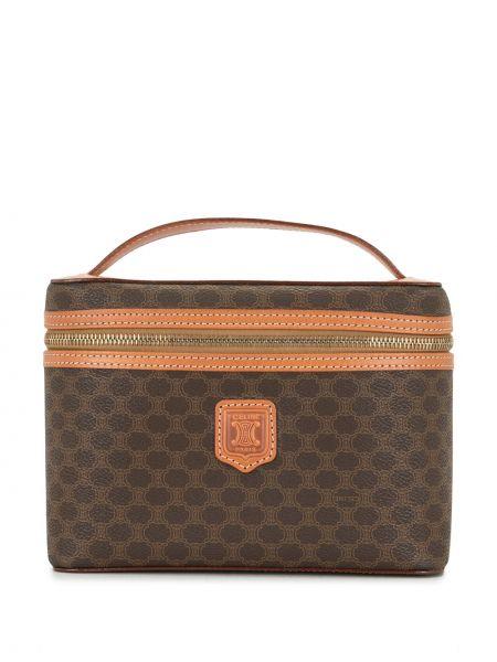 Золотистая кожаная коричневая сумка-тоут с нашивками Céline Pre-owned