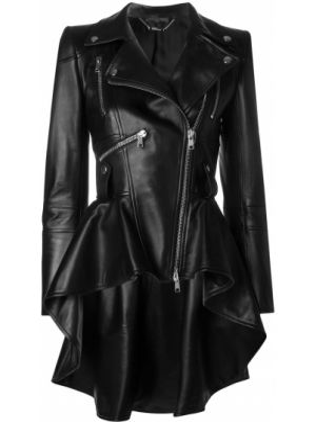 Черная кожаная куртка байкерская на молнии с воротником Alexander Mcqueen