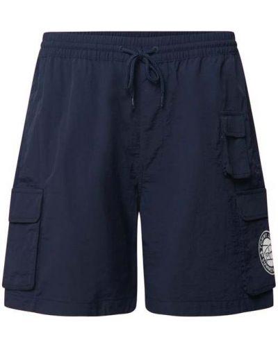 Niebieskie szorty jeansowe na rzepy z printem Tommy Jeans