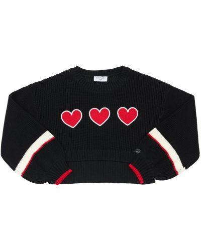 Шерстяной свитер с аппликациями с круглым вырезом круглый Monnalisa