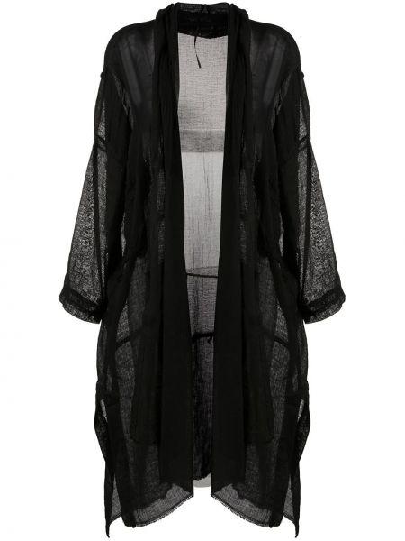 Асимметричное черное длинное пальто с карманами Masnada