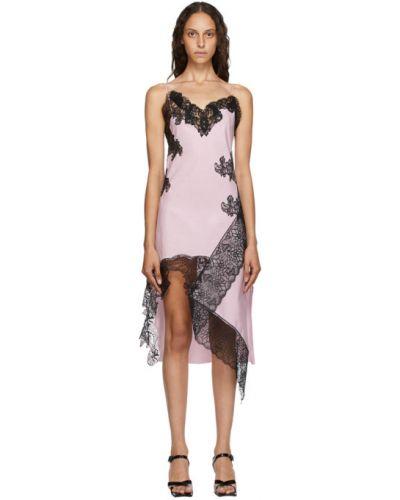 Розовое платье на бретелях из поплина с V-образным вырезом Marques Almeida