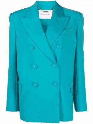Шерстяной синий удлиненный пиджак двубортный Camilla And Marc