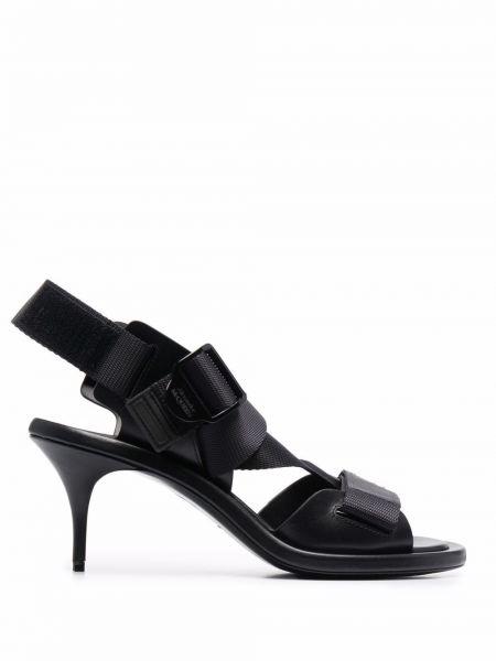Sandały skórzane na obcasie - czarne Alexander Mcqueen