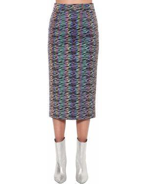 Prążkowana spódnica midi z wysokim stanem z printem Annakiki