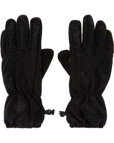 Czarne rękawiczki skorzane z siateczką Stone Island