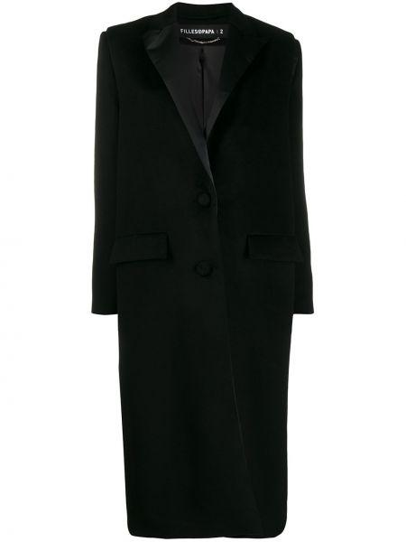 Черное пальто на пуговицах с капюшоном Filles A Papa