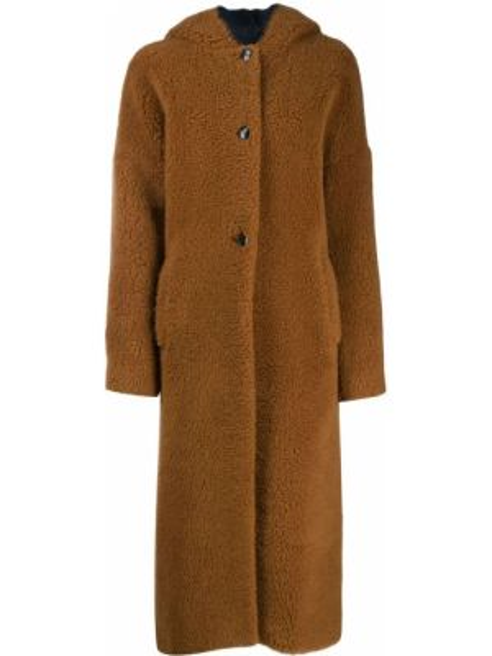 Коричневое шерстяное длинное пальто с капюшоном Inès & Maréchal