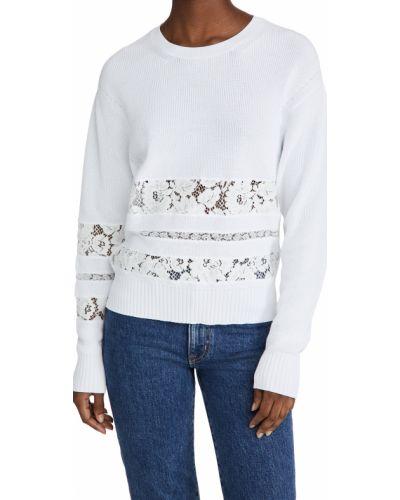 Хлопковый ажурный белый длинный свитер No. 21