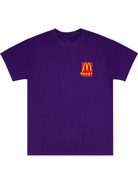 Fioletowy t-shirt bawełniany krótki rękaw Travis Scott Astroworld