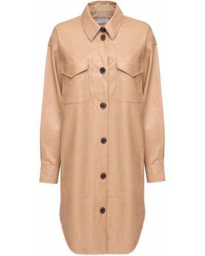 Коричневое кожаное платье с манжетами с карманами Designers Remix