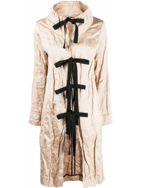 С рукавами длинное пальто с воротником с завязками Prada Pre-owned