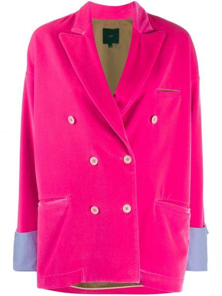 Бархатный розовый классический пиджак двубортный Jejia