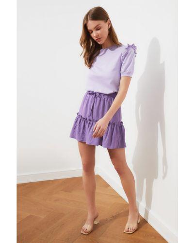 Fioletowa spódnica koronkowa sznurowana Trendyol
