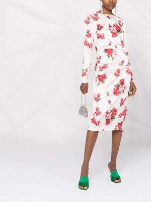 Розовое платье миди с длинными рукавами в цветочный принт Blumarine