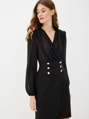 Платье с запахом - черное Rinascimento