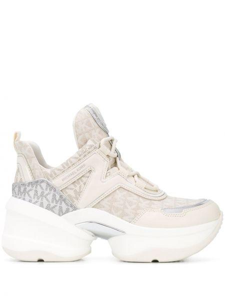 Beżowe sneakersy skorzane sznurowane Michael Michael Kors