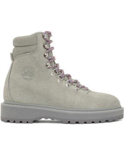 Серебряные замшевые ботинки на шнуровке Diemme