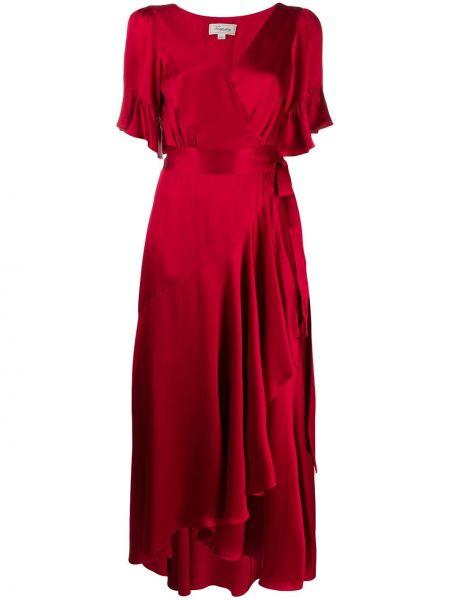 Красное шелковое платье мини с запахом с короткими рукавами Temperley London