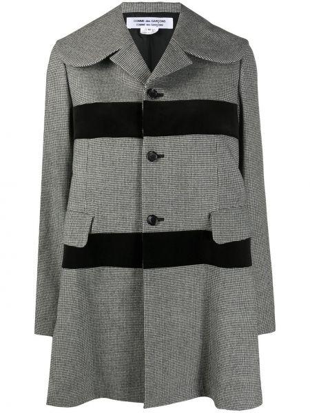 Шерстяное черное длинное пальто на пуговицах Comme Des Garçons Comme Des Garçons