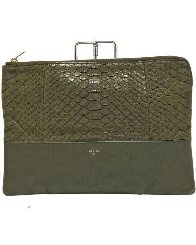Zielona kopertówka skórzana Celine Vintage