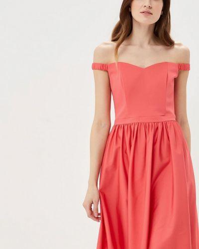 Розовое платье с открытыми плечами Calista