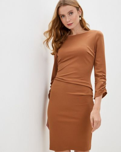 Коричневое платье-футляр Rinascimento