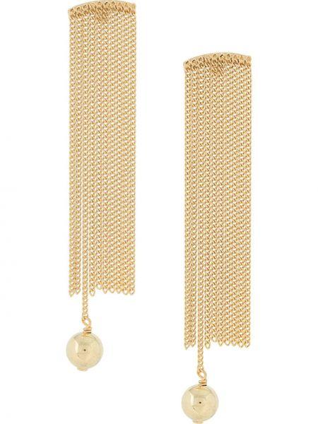 Золотистые желтые серьги-гвоздики с бахромой Wouters & Hendrix
