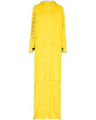 Желтый длинный плащ с капюшоном на молнии Y Project
