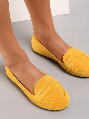 Żółte mokasyny materiałowe Renee