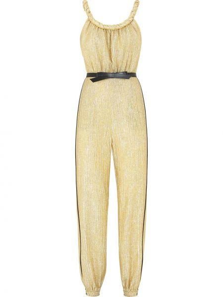 Желтый кожаный комбинезон на бретелях Fendi