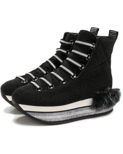 Кроссовки с глиттером текстильные Hogan