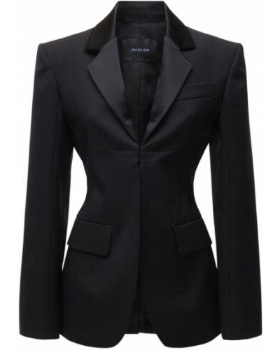 Шерстяной черный пиджак с карманами Mugler