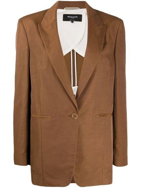 Однобортный коричневый пиджак с карманами Rochas