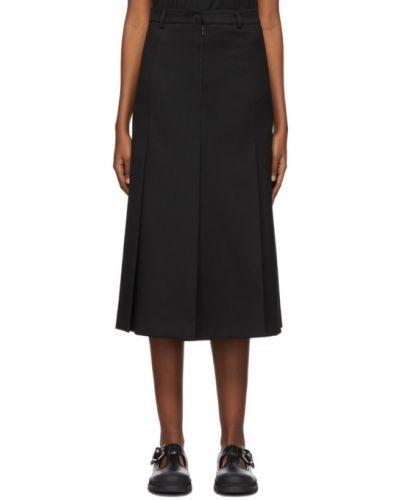 Сатиновая расклешенная черная юбка с поясом Ami Alexandre Mattiussi