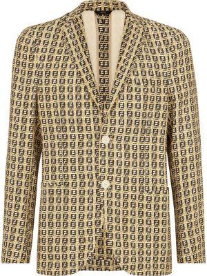 Шелковый удлиненный пиджак с воротником на пуговицах Fendi